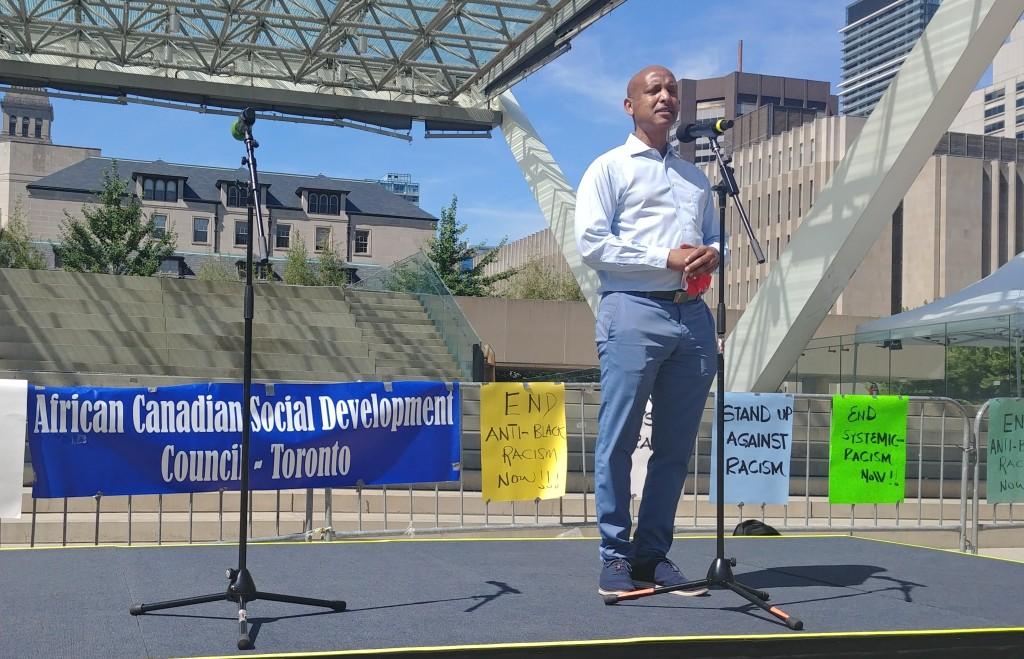 MPP Faisal Hassan speaking, fighting against anti-black racism